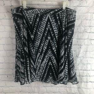 Calvin Klein Black White Silk A Line Silk
